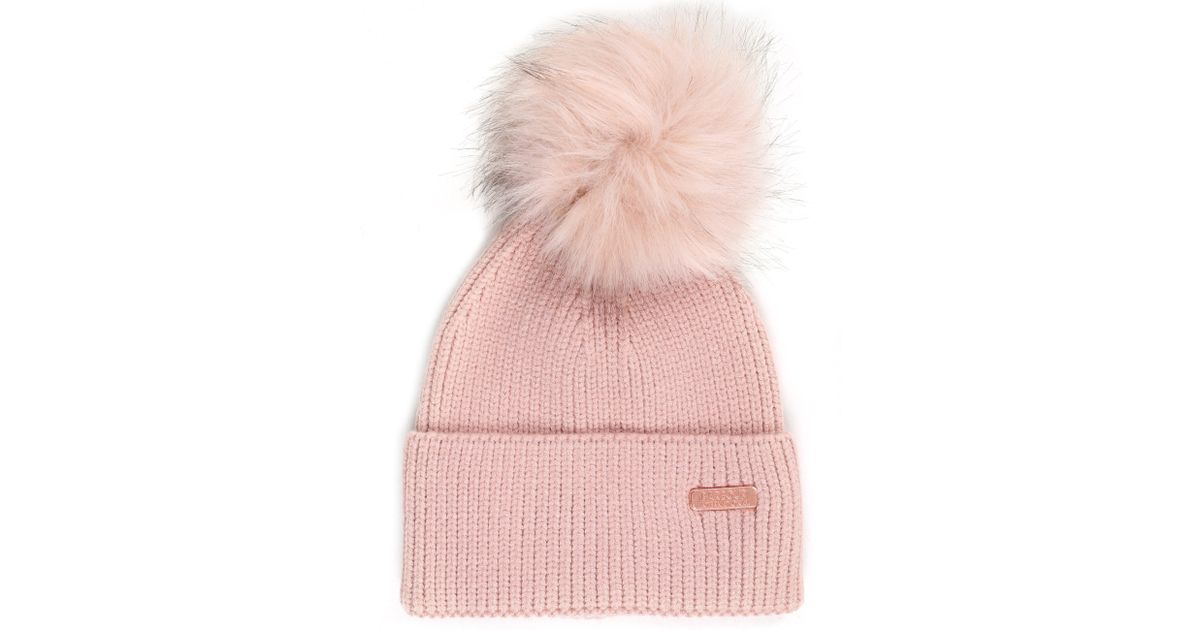 0477d20cc Barbour Pink Mallory Pom Womens Beanie