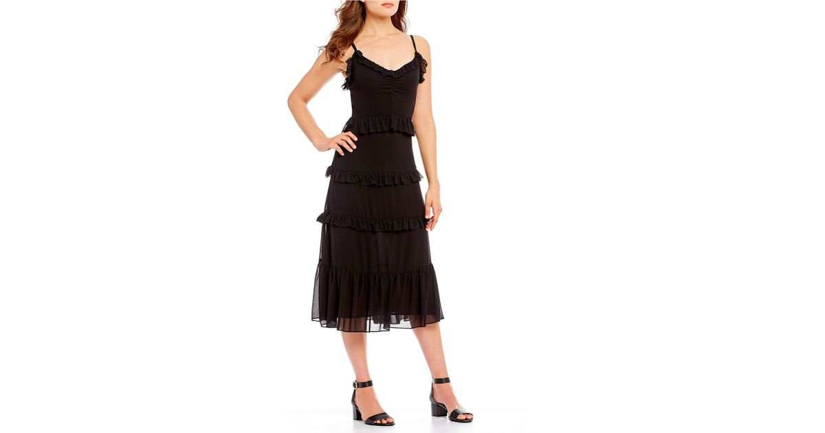 622fd24a5da Lyst - Michael Michael Kors Georgette Tiered Ruffle A-line Midi Dress in  Black