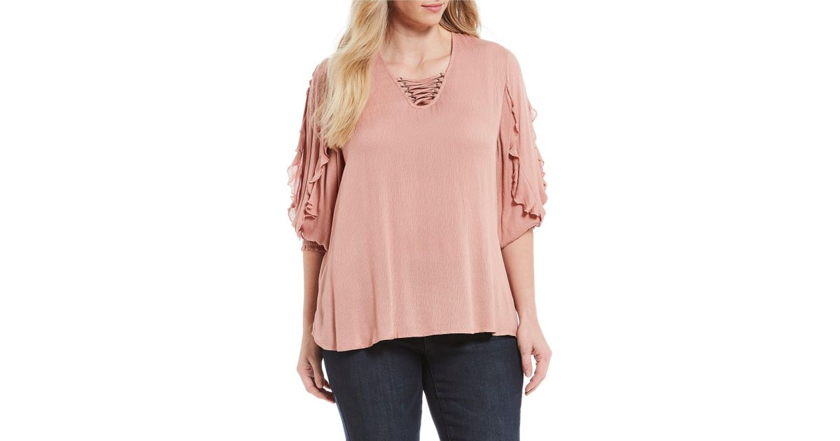 d6d1b63a4f1 Lyst - Democracy Plus Size Lace Up Smocked Ruffle Sleeve Top in Pink