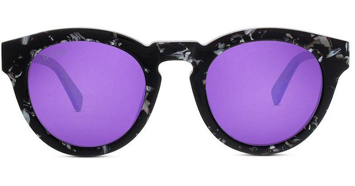 d2890b58ef Lyst - DIFF Dime Ii Polarized Mirrored Round Sunglasses in Purple