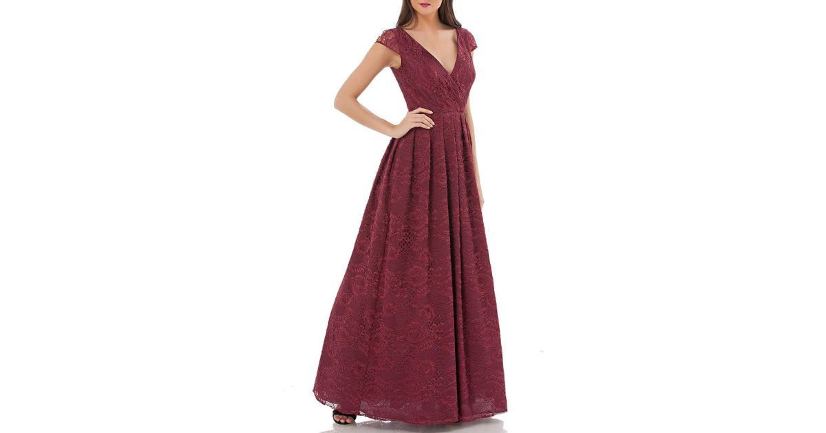 Lyst - Js Collections Surplice Wrap Cap-sleeve Lace Ball Gown in Red