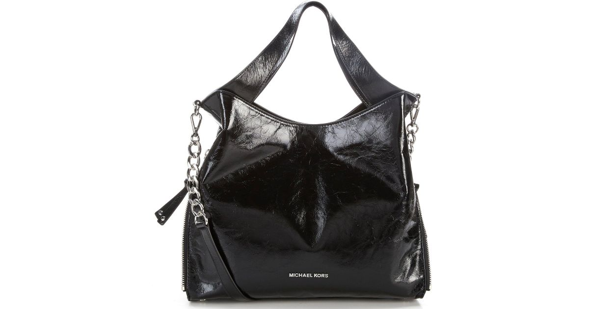 7f6a87b585ca59 MICHAEL Michael Kors Devon Large Shiny Crinkle Tote in Black - Lyst
