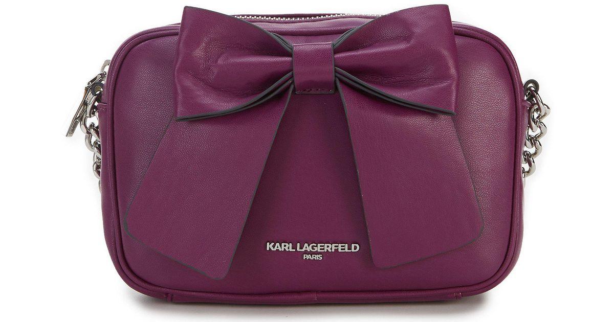 065a4de32024 Lyst - Karl Lagerfeld Kris Bow Metallic Cross-body Bag in Purple