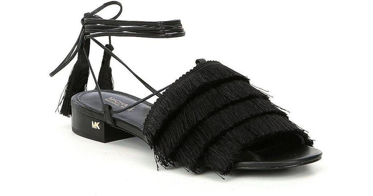 Gallagher Wrap Tie Fringe Banded Block Heel Sandals XUpMiJ3M3