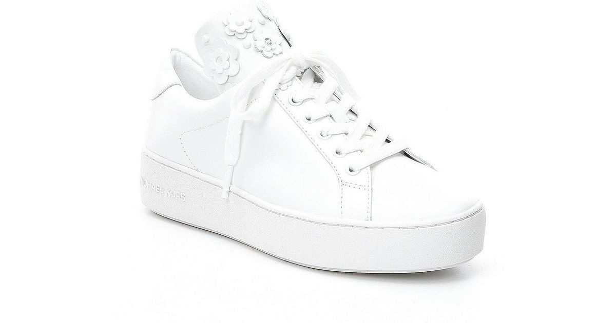 7432684dfb6 MICHAEL Michael Kors Mindy Floral Stud Detail Lace Up Sneakers in White -  Lyst