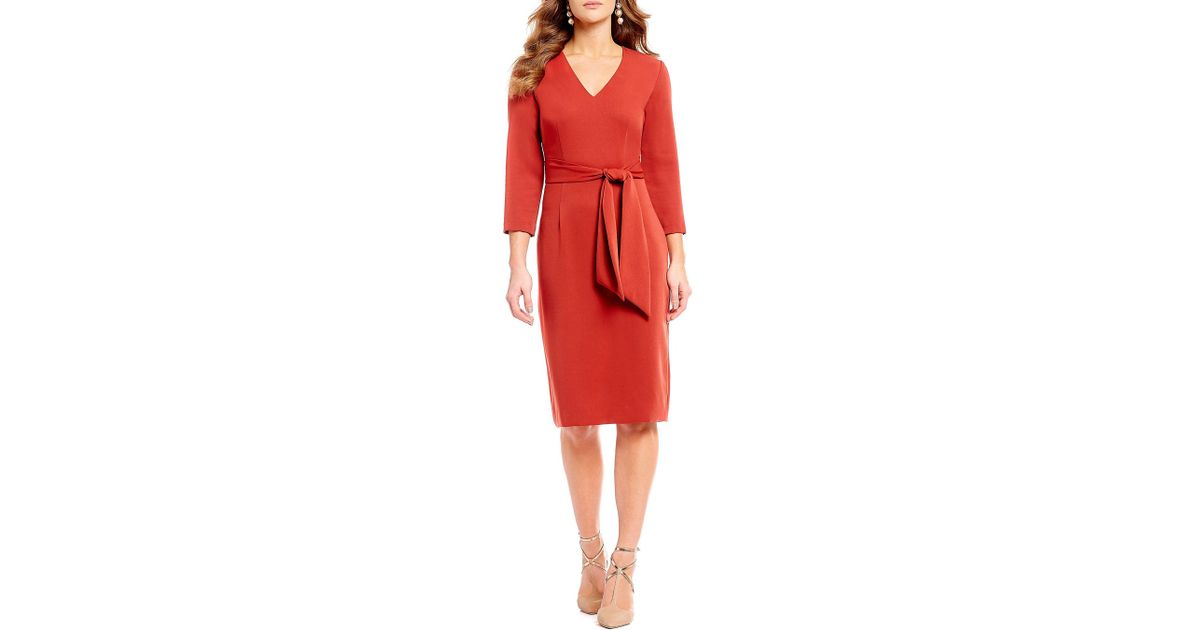 212fdf80f0e Antonio Melani Jessica Crepe V-neck Belted Tie Waist Sheath Dress in Red -  Lyst