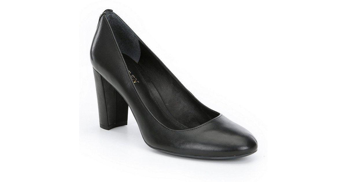 419fb2481c7 Lauren by Ralph Lauren Black Maddie Leather Block Heel Pumps