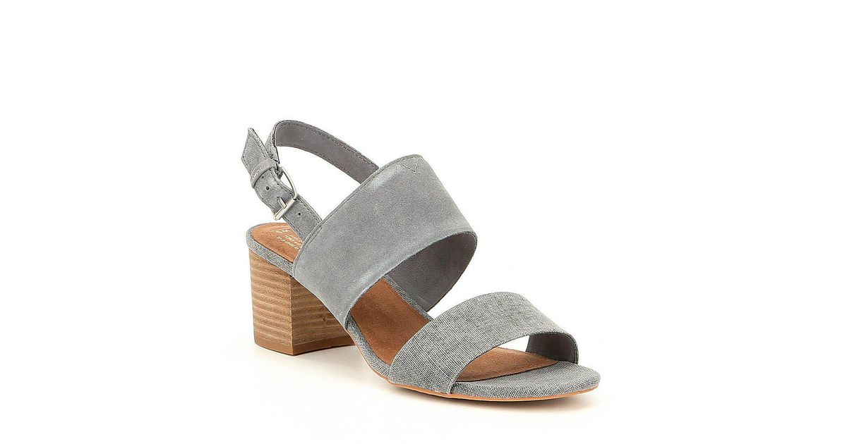87fa311d10c Lyst - TOMS Poppy Suede And Textile Block Heel Sandals in Gray
