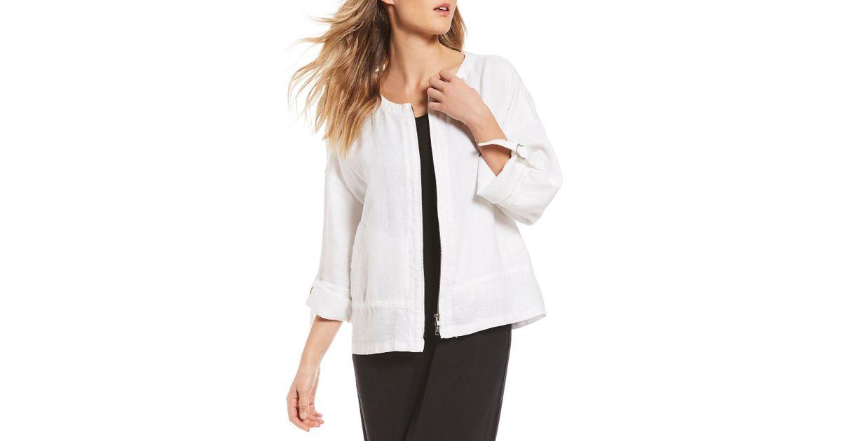 47513aff42a2f Lyst - Eileen Fisher Round Neck Drawstring Jacket in White
