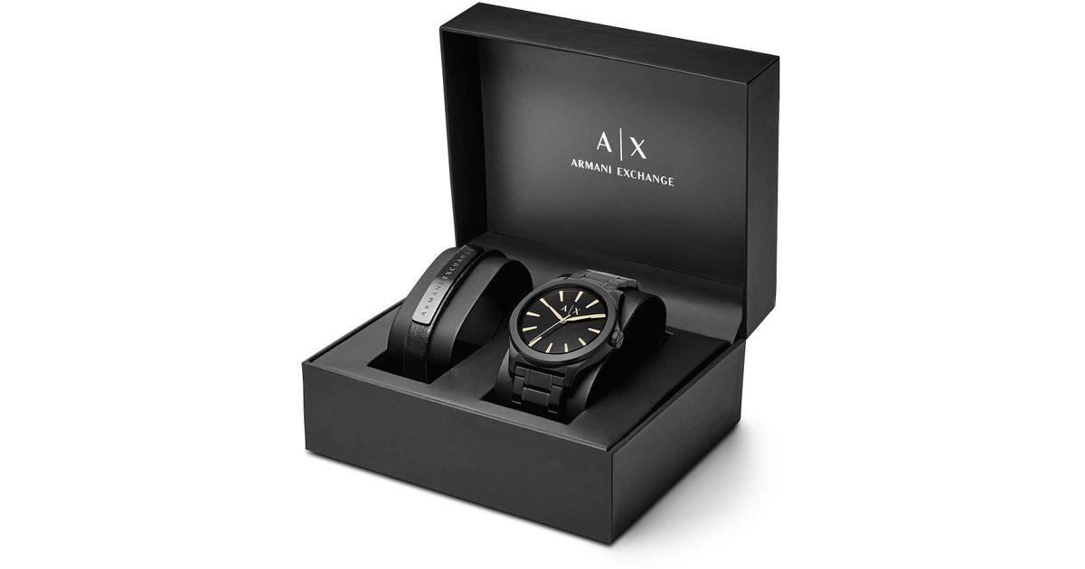 8b05ff0e54f0 Lyst - Armani Exchange Ax Analog Bracelet Watch   Leather Strap Set in  Black for Men