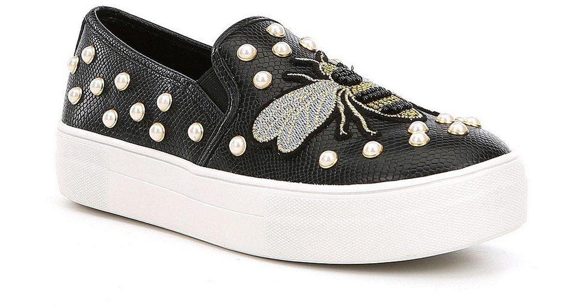 e0e8ad419e1 Steve Madden Black Polly Pearl Stud Embellished Sneakers