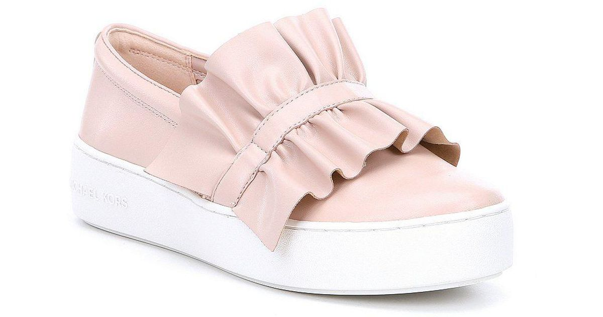 573ddaf88bc4 Lyst - MICHAEL Michael Kors Bella Slip On Ruffle Sneakers in Metallic