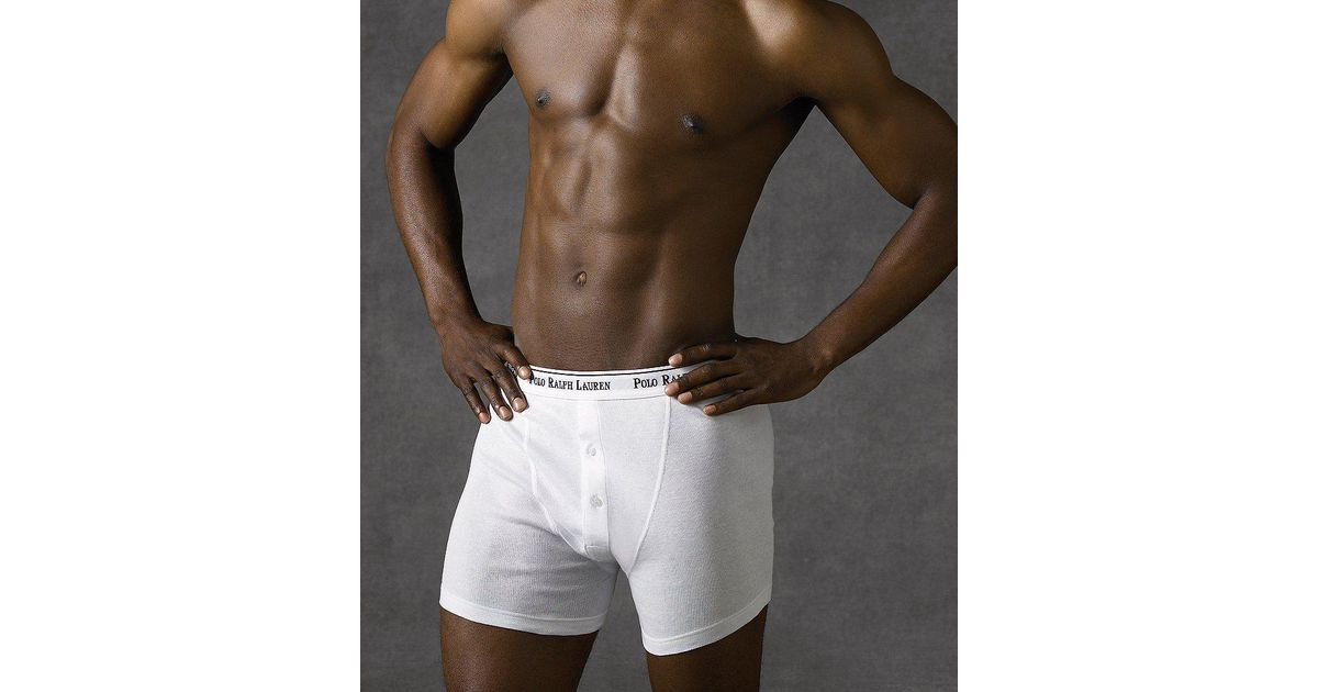 bb187160bf4 Polo Ralph Lauren Classic-fit Cotton Button-fly Boxer Briefs 3-pack in  Black for Men - Lyst