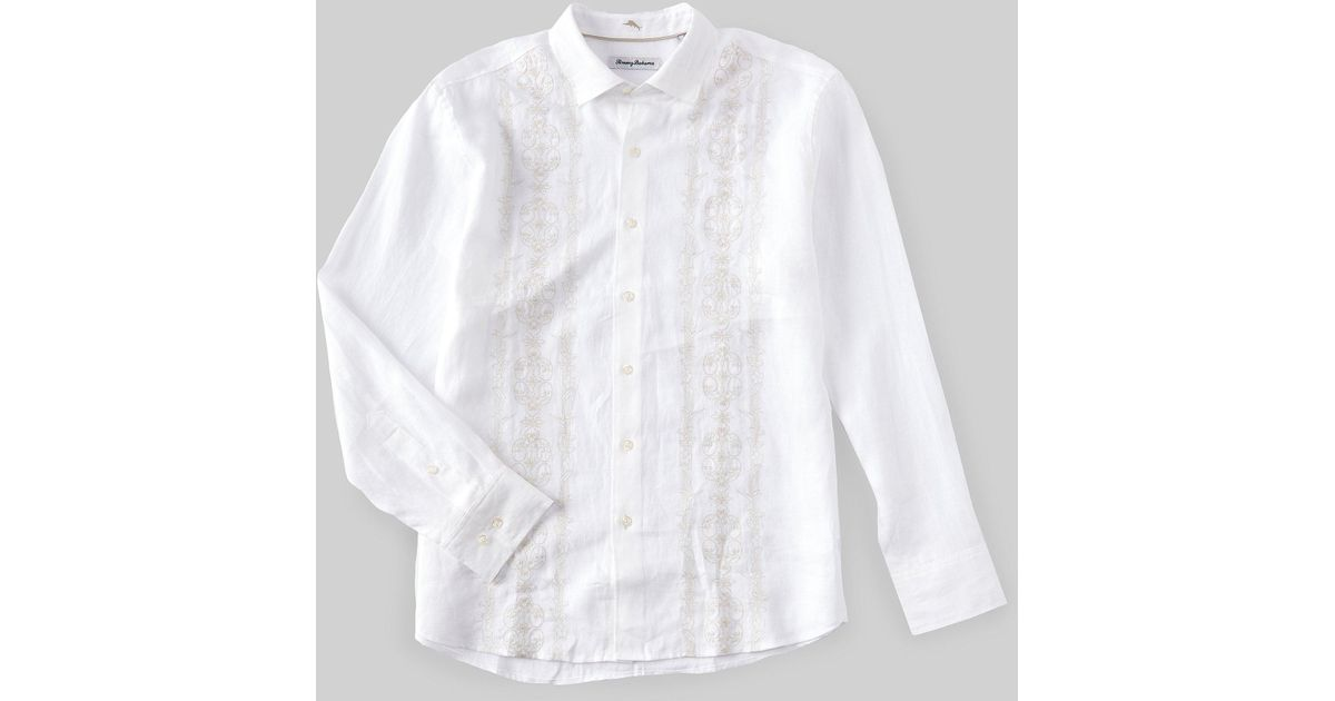 Tommy Bahama Men/'s Verona Vines Linen Button Down Camp Shirt in White