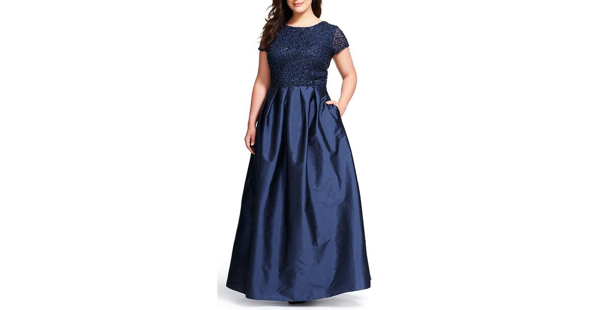 ADRIANNA PAPELL SEQUIN SHORT SLEEVE TAFFETA BALL GOWN
