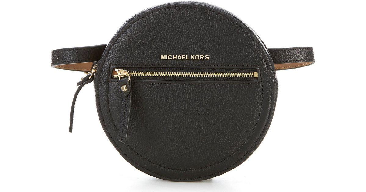 Lyst - Michael Kors Round Leather Belt Bag in Black