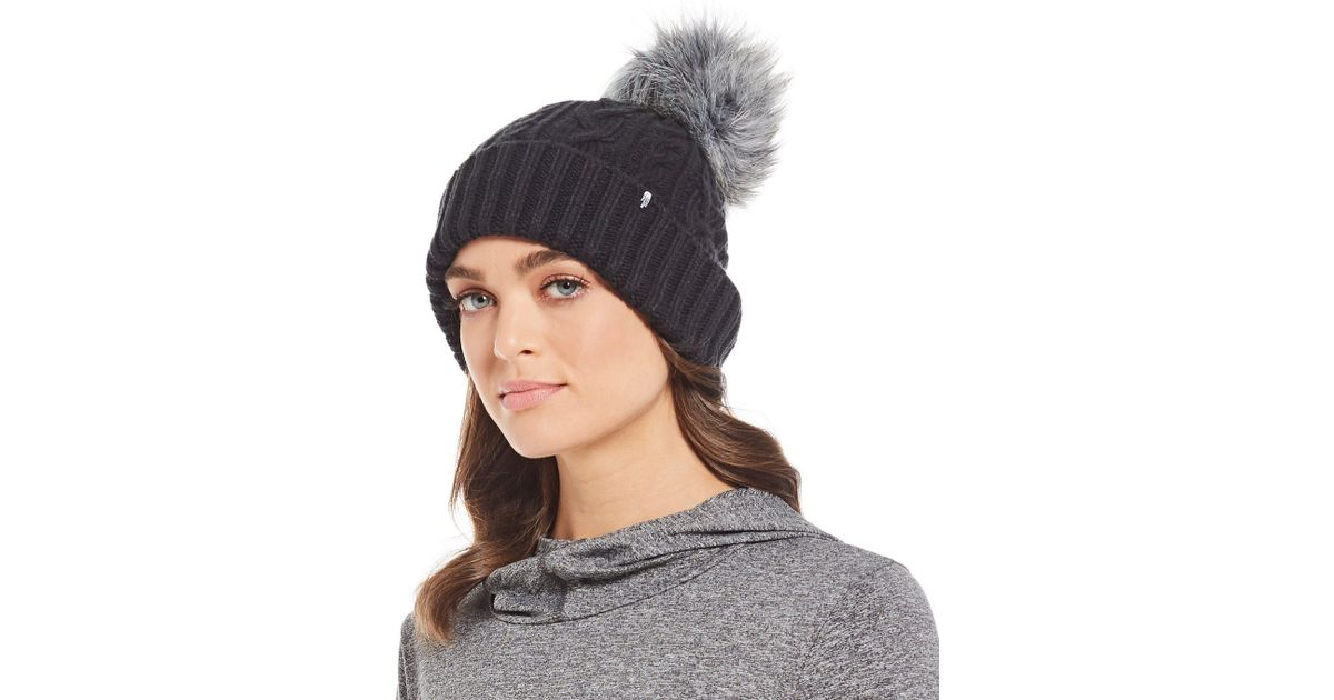 492b10163 The North Face Black Ladies' Oh-mega Faux-fur Pom Beanie