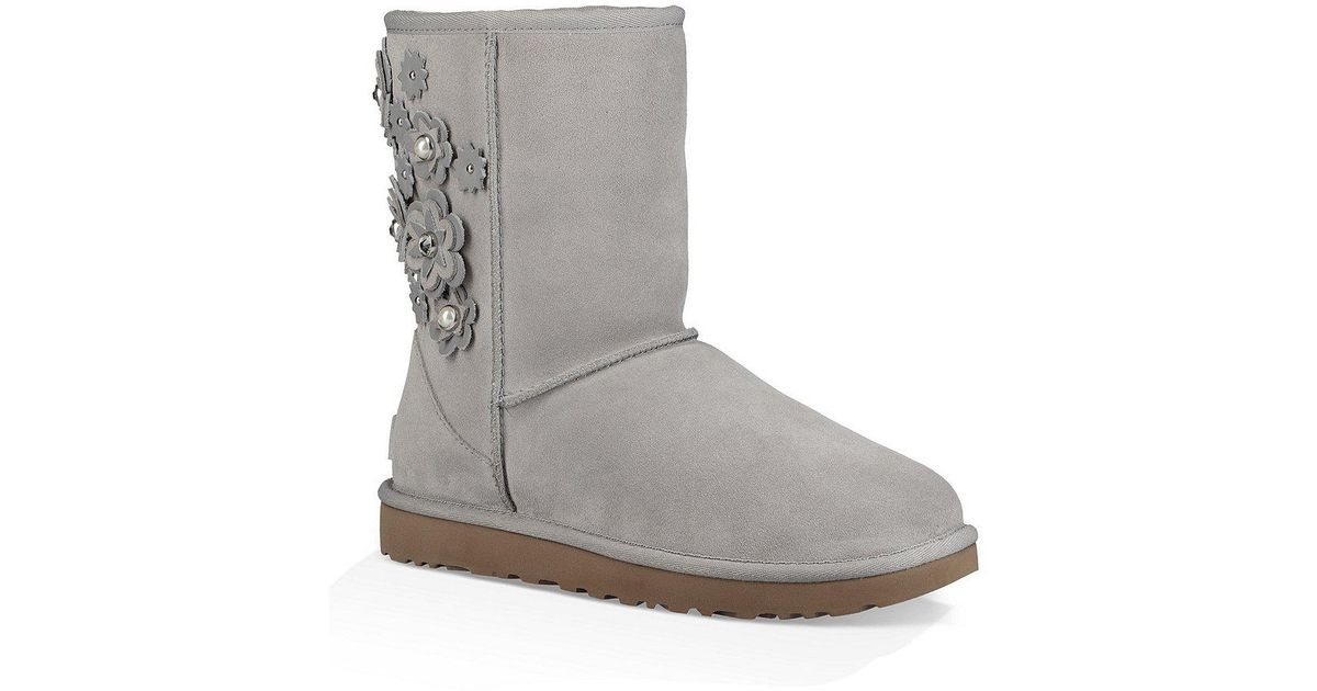 Ugg Gray Classic Short Suede Petal Boots