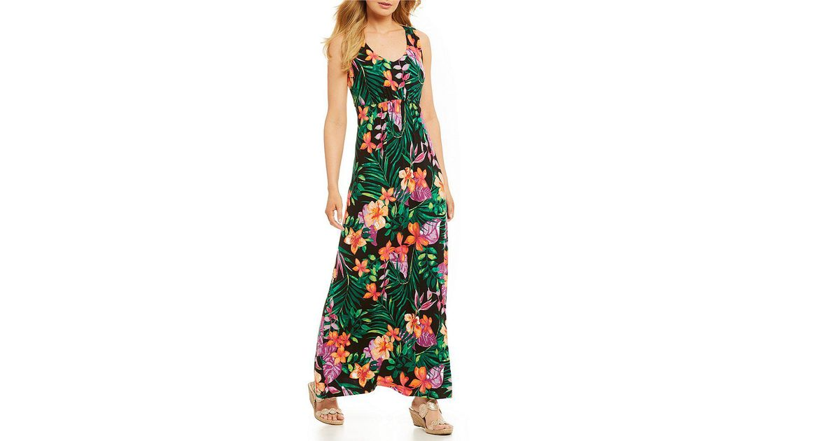 0def781d96e Tommy Bahama Marabella Blooms Maxi Dress in Black - Lyst