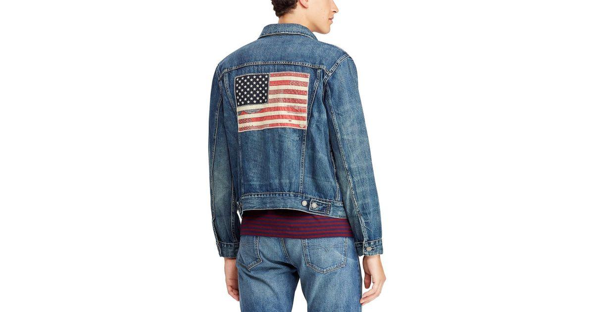 d2a9ec5cb Polo Ralph Lauren Blue Flag Patch Denim Trucker Jacket for men