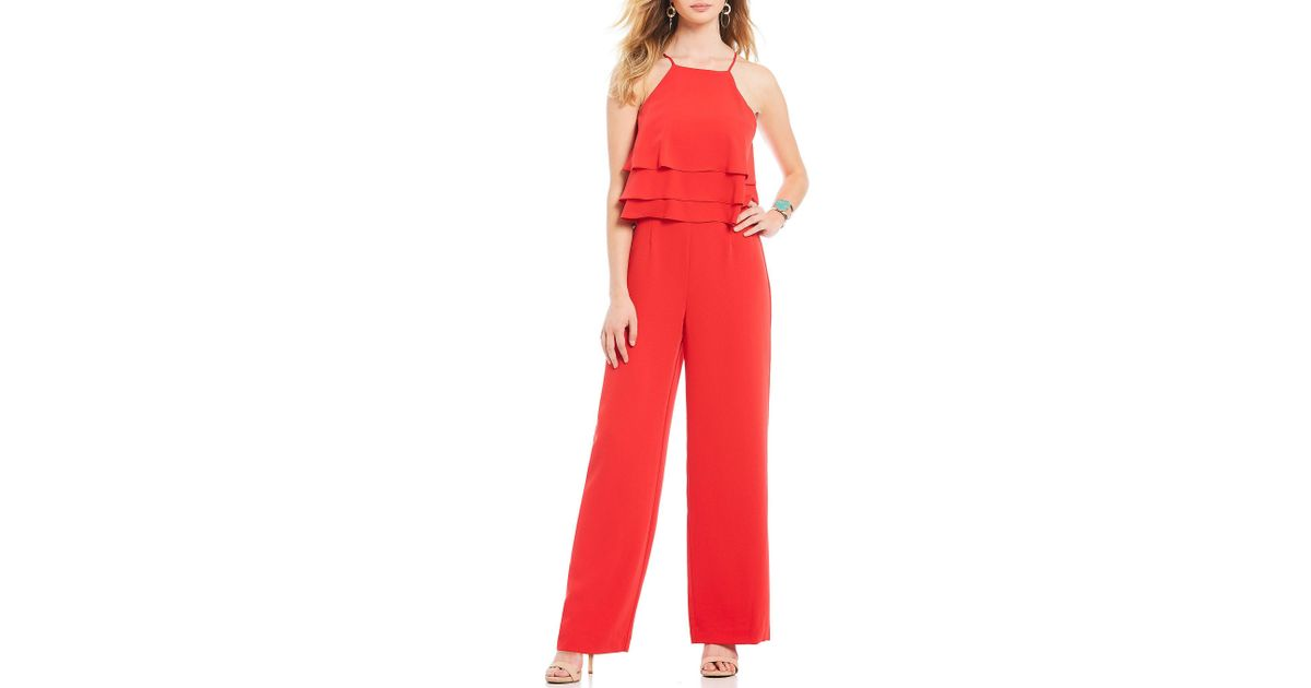 90830e3c902e Lyst - Gianni Bini Denise Tiered Ruffle Popover Jumpsuit in Red