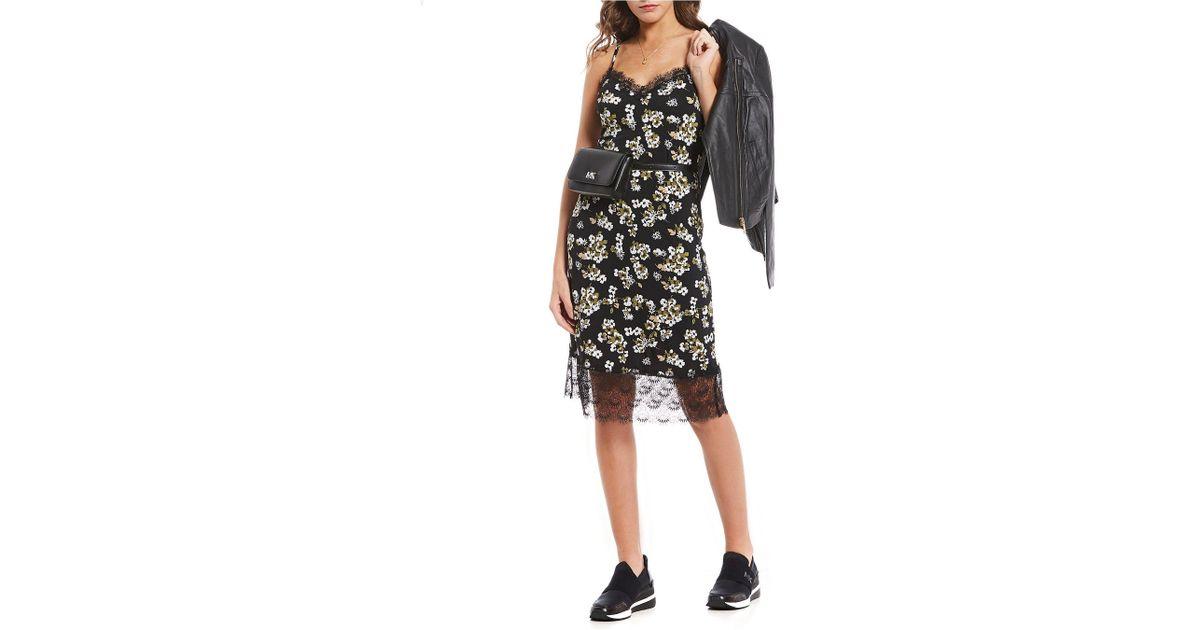 f890b6afb8846 Lyst - MICHAEL Michael Kors Glam Painterly Fleur Floral Print Lace Trim Midi  Length Slip Dress in Black