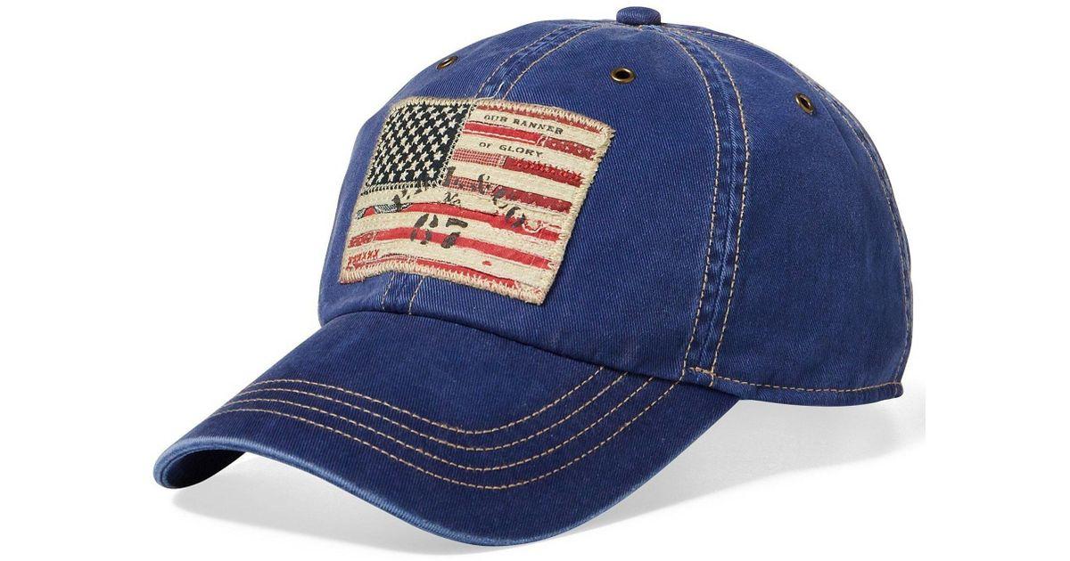 Lyst - Polo Ralph Lauren Big   Tall Flag Denim Baseball Cap in Blue for Men f93bd346376