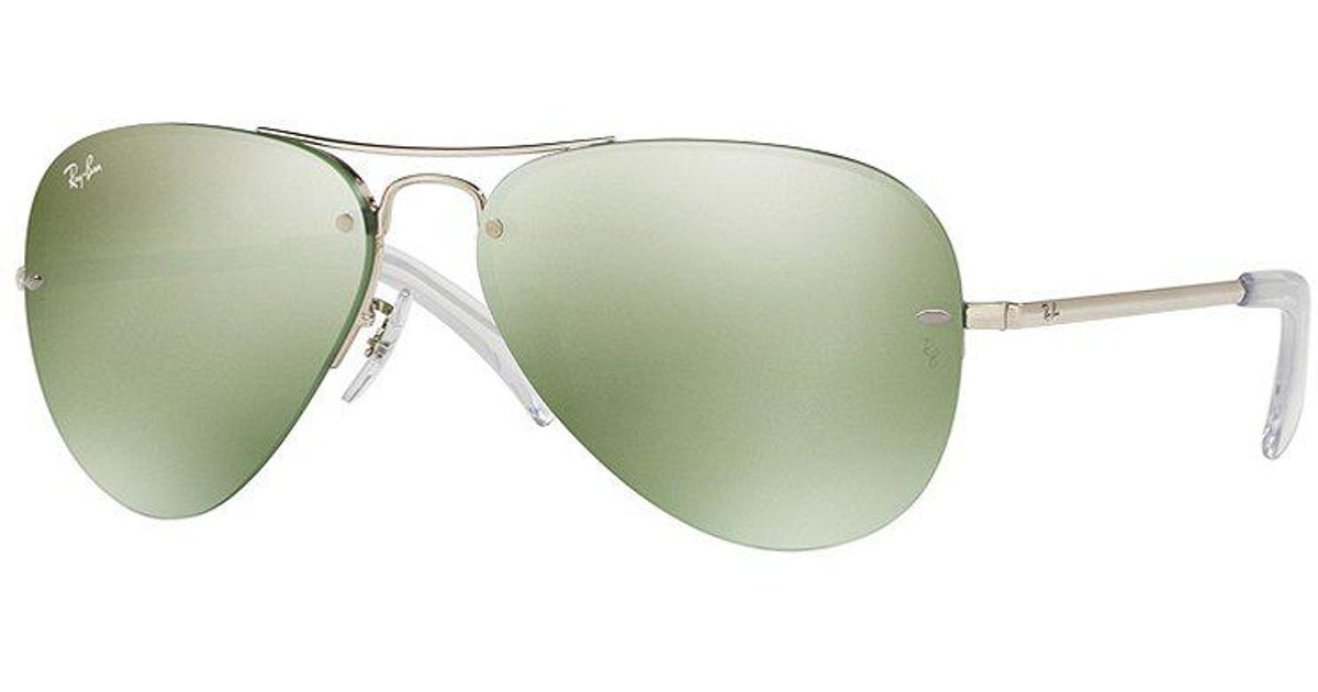 40095f7c433 Lyst - Ray-Ban Semi-rimless Flash Mirror Double Bridge Aviator Sunglasses  in Metallic for Men