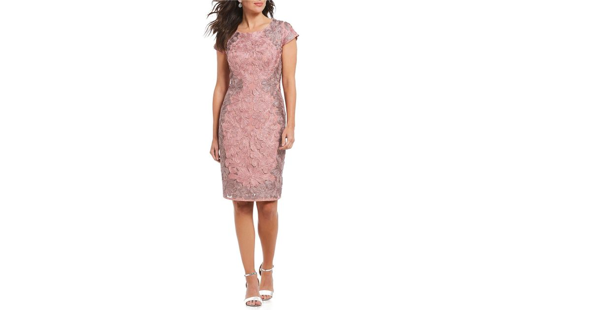 f4b239b0236a Lyst - JS Collections Soutache Lace Sheath Dress in Pink