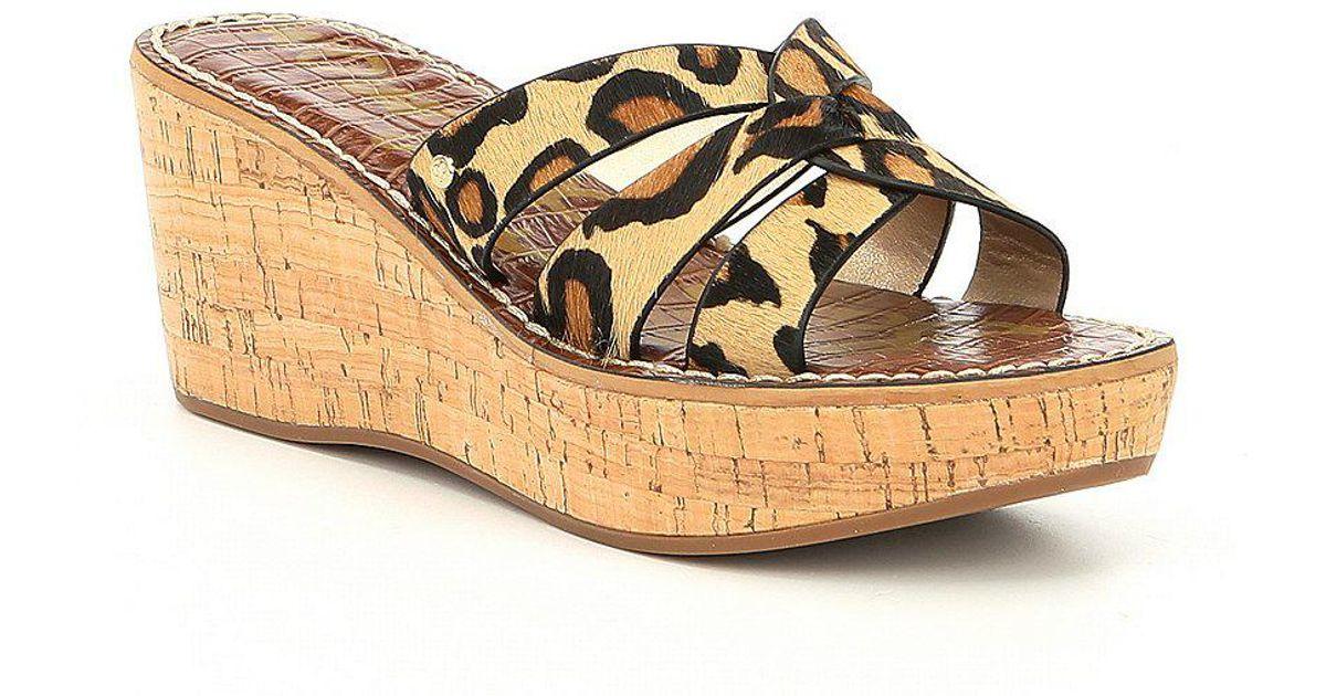 Sam Edelman Raynere Leopard Print Calf Hair Wedge Sandals vkqyCdHt