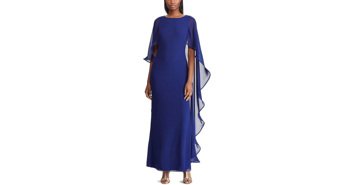 ceba41f245 Lauren by Ralph Lauren Blue Cape Overlay Georgette Gown