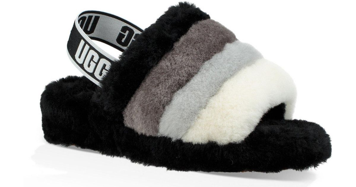 7689faf1052 Ugg Black Logo Fluff Yeah Multi-color Slides