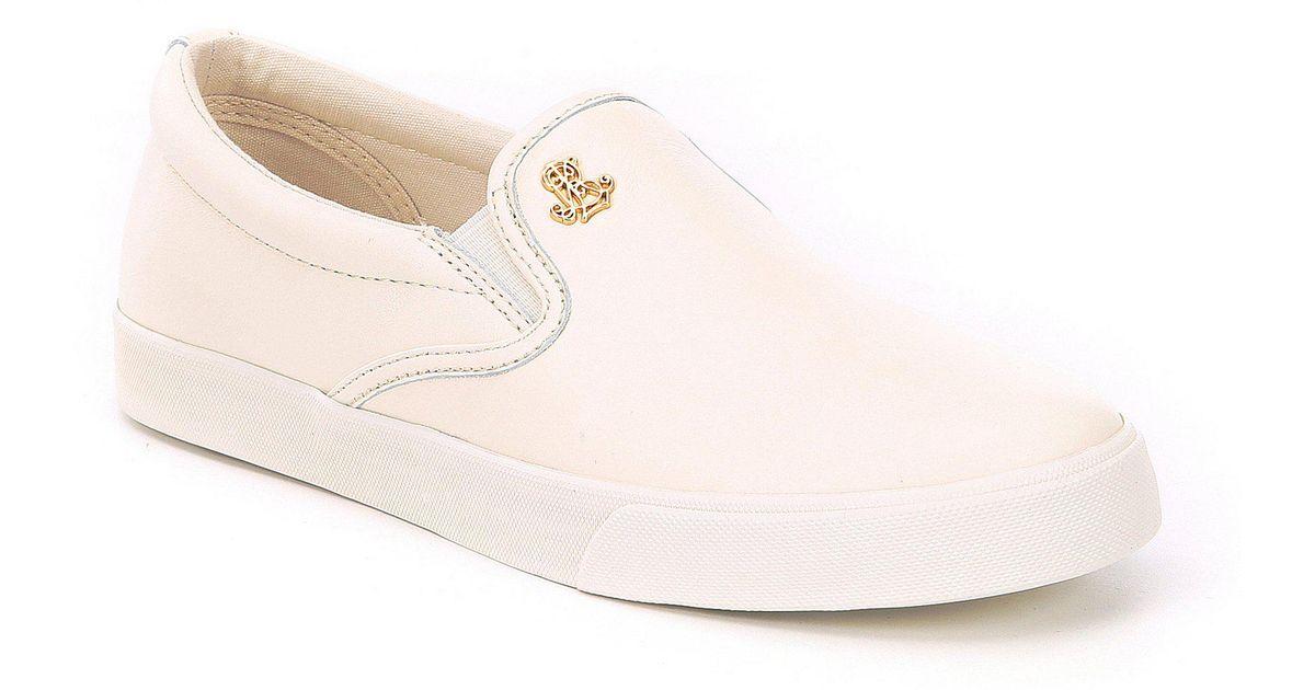 321556bae2 Lauren by Ralph Lauren Brown Ria Leather Slip On Sneakers