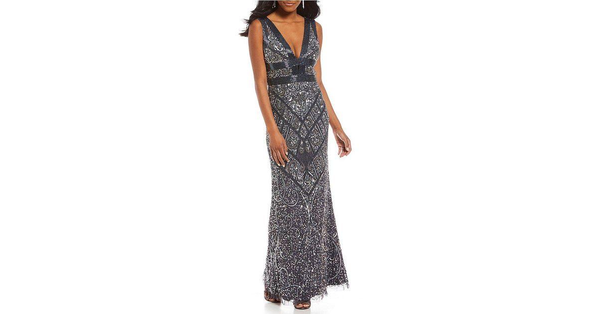 fc8dd840909 Aidan Mattox V Neck Plunge Sequin Gown - Lyst