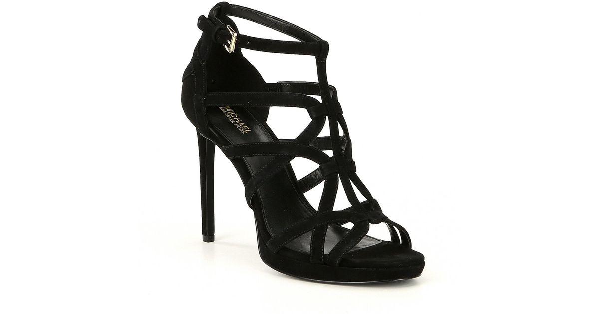 d863aa4b5ecf Lyst - MICHAEL Michael Kors Sandra Suede Caged Platform Dress Sandals in  Black