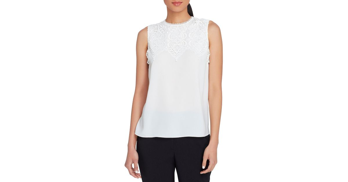 Lyst tahari georgette lace applique blouse in white