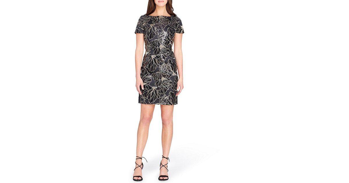 5c6c9c657c04 Lyst - Tahari Sequin Embroidered Sheath Dress in Black