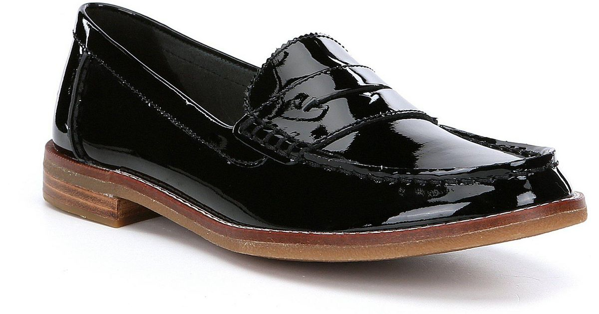 973dd847526 Lyst - Sperry Top-Sider Women s Seaport Penny Patent Leather Loafers in  Black