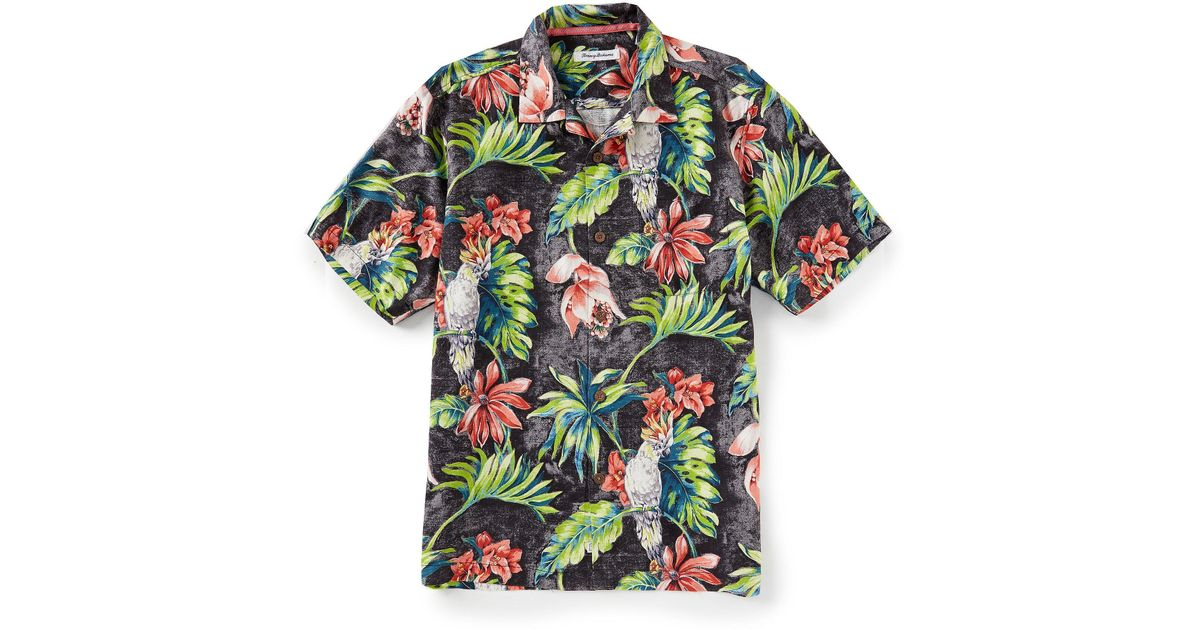 d79d2bb9 Lyst - Tommy Bahama Tahitian Tweets Silk Jacquard Short-sleeve Woven Shirt  in Black for Men - Save 16.66666666666667%
