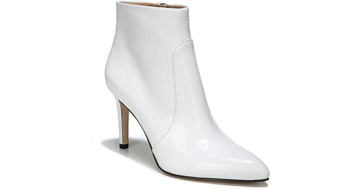 40b3231ee12a30 Lyst - Sam Edelman Olette Patent Leather Booties in White