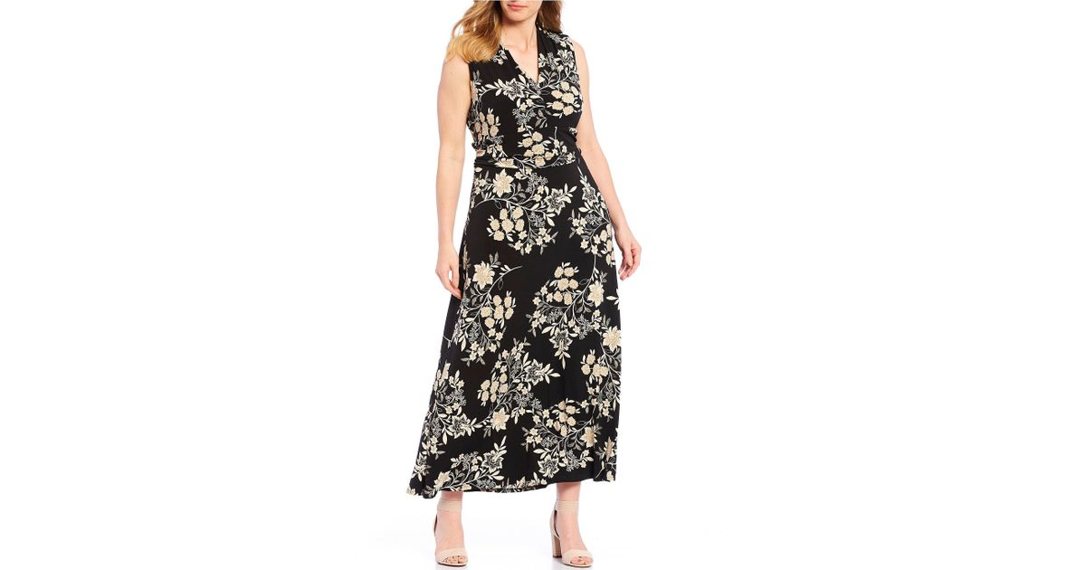 Vince Camuto Black Plus Size Sleeveless Halter Floral Print Maxi Dress