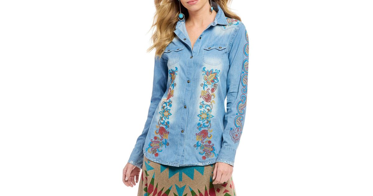 4836ecf72a2 Tasha Polizzi Denim Snap Front Embroidered Billie Shirt in Blue - Lyst