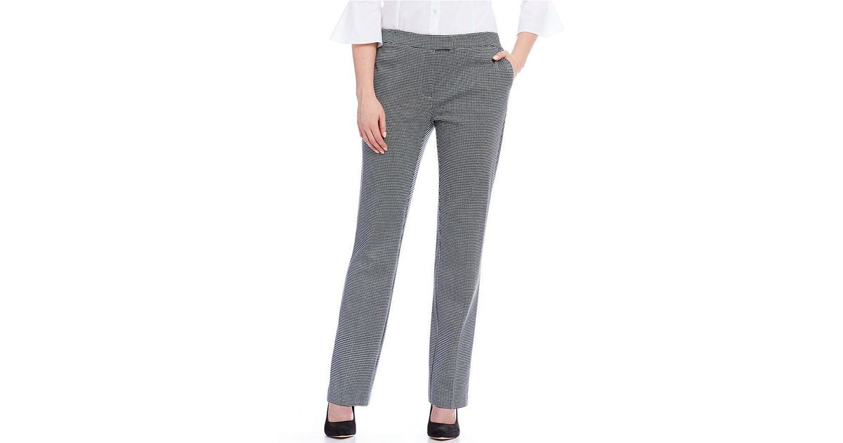 Lyst - Jones New York Sydney Houndstooth Pattern Ponte Knit Pants in ...