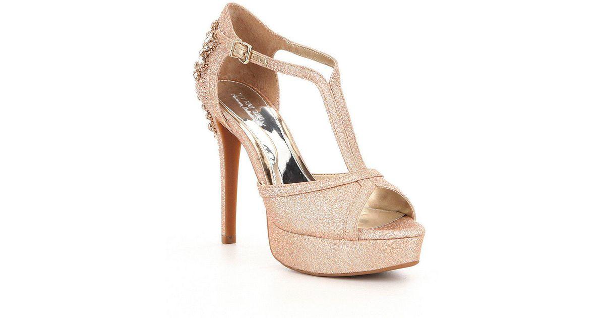 7d35a4aa8ed0 Lyst - Gianni Bini Laurito Glitter Jewel Ornament Platform Dress Sandals in  Black