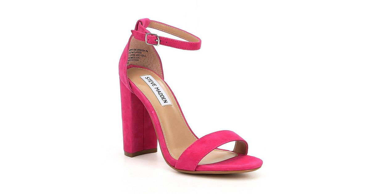 52361334d909 Lyst - Steve Madden Carrson Patent Banded Ankle Strap Block Heel Sandals in  Pink