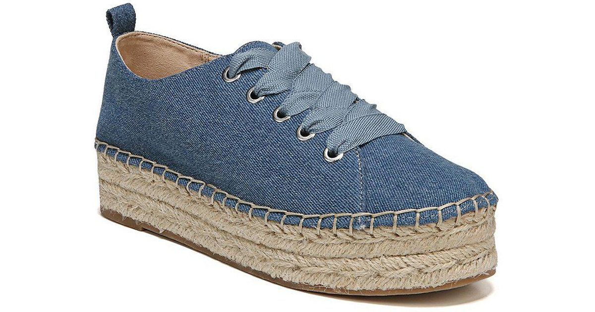 Sam Edelman Celina Washed Denim Lace Up Espadrilles 74Q0s