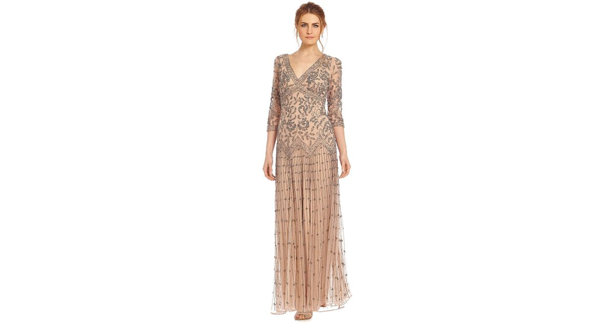 6a568c439fc Lyst - Pisarro Nights Floral-beaded Drop-waist Gown in Natural