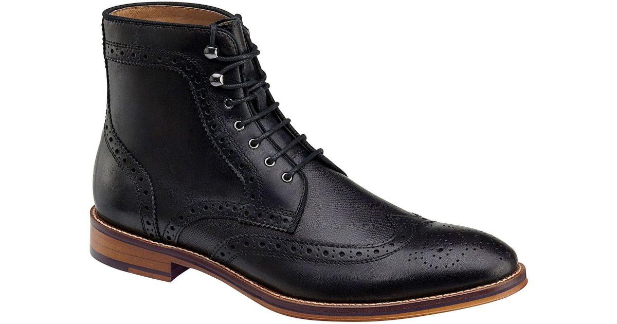 johnston murphy conard wingtip boots in black for lyst
