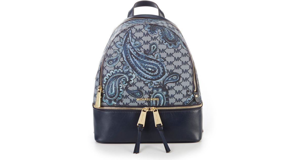 74290185f17e MICHAEL Michael Kors Studio Rhea Paisley Medium Zip Backpack in Blue - Lyst