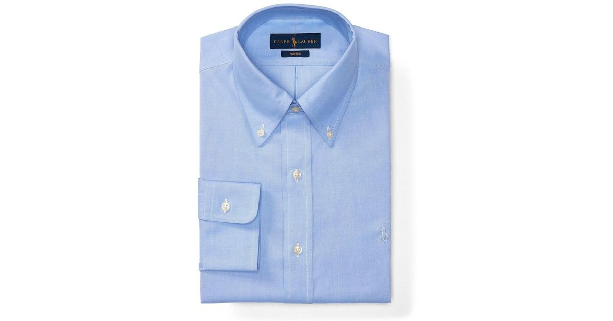 Polo ralph lauren non iron fitted classic fit pinpoint for Mens white button down dress shirts